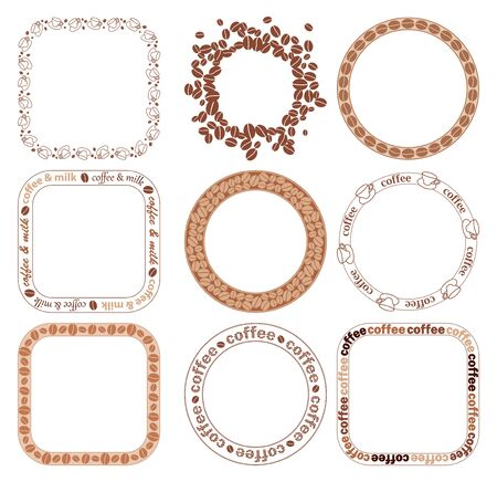 decorative brown frames with coffee grains - vector set
