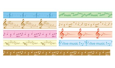 set of vector colorful seamless borders with music notes - colored frames Banco de Imagens - 127968299