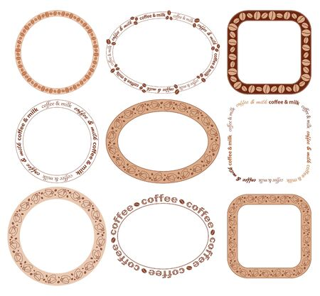 round and oval and quadrate frames with coffee beans and cups - vector set