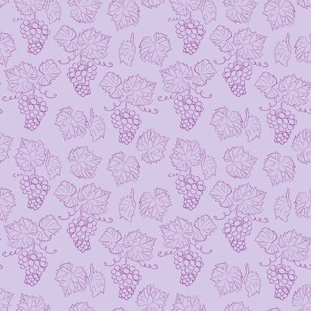violet seamless pattern with grapes and leaves - vector floral background