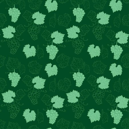 dark green seamless background with grapes - vector floral pattern