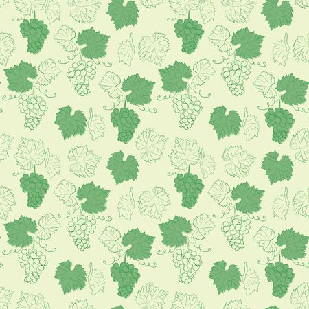 light green seamless background with grapes - vector pattern Ilustracja