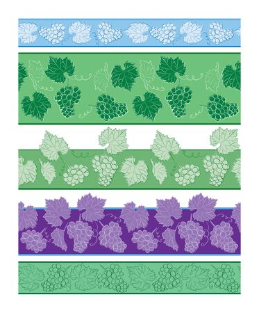 seamless borders with grapes and leaves - vector set of beautiful ornaments Ilustracja