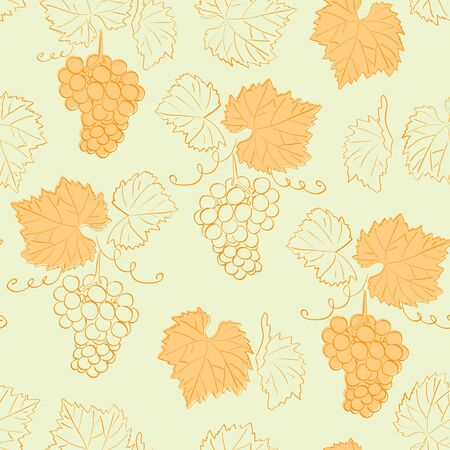 bright yellow seamless pattern with grapes - vector background