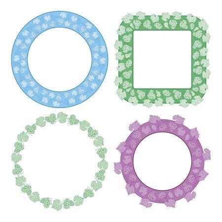 ornamental floral frames with grapes - vector set Ilustracja