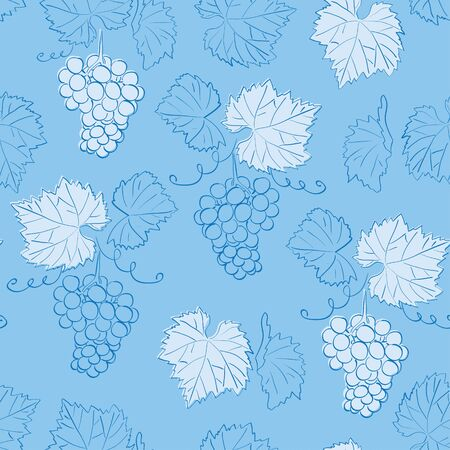 light blue seamless pattern with grapes - vector floral background