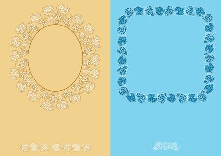 beige and light blue backgrounds with frames - decorative vector grapes bunches