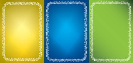 set of vector abstract backgrounds and white frames with grape clusters