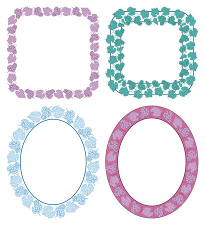 square and oval decorative frames with grapes - vector set