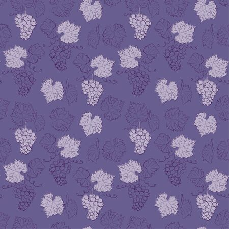 violet seamless pattern with grapes - vector floral texture