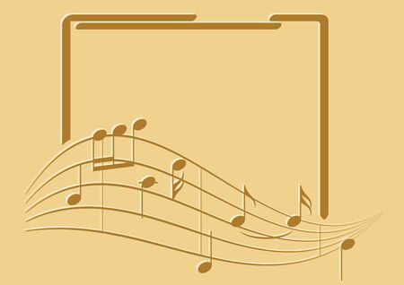 brown frame with music notes on beige background - vector flyer Ilustracja