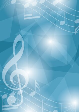 blue vector flyer with music notes and geometric shapes - abstract background