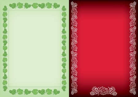 light green and red backgrounds with frames - decorative vector grapes bunches