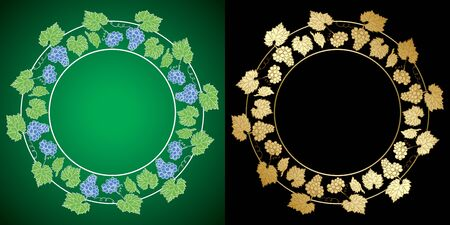 vector grape clusters on black and green backgrounds - decorative frames
