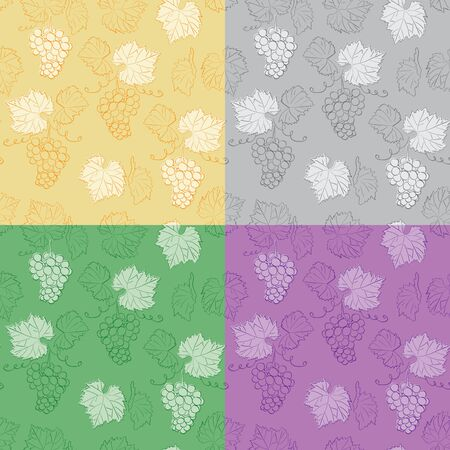color seamless patterns with grapes - vector background Иллюстрация