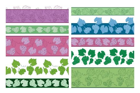 seamless borders with grapes and leaves - vector set of floral ornaments