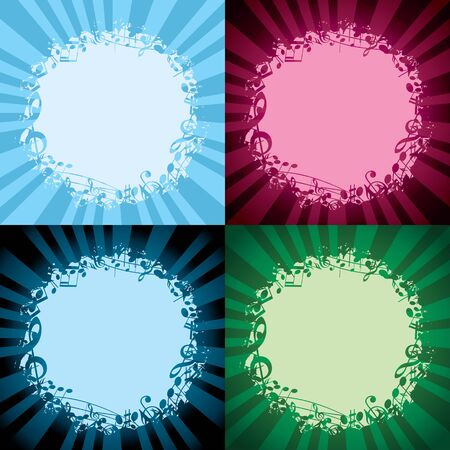 color round musical frames on light backgrounds - vector decorations with light beams