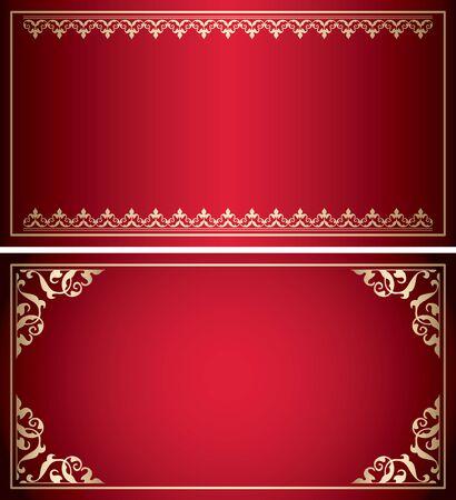 red backgrounds with golden vintage frames - vector Stock Illustratie