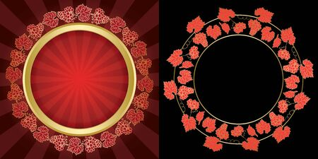 vector grape clusters on black and red backgrounds - decorative frames