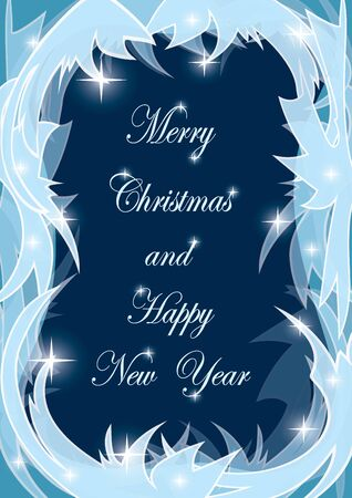 Merry Christmas and Happy New Year vector postcard with icy frame