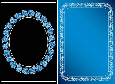 black and blue - frames with grape clusters on vertical background - vector cards Ilustração