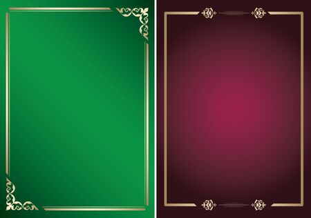 bright green and purple vector backgrounds with golden frames Ilustrace