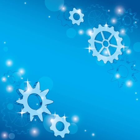 blue abstract background with gears and bokeh - vector cogwheels and contours
