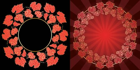 vector golden and bright red grape frames on black and red backgrounds