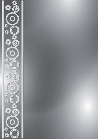 gray a4 background with cogwheels in ornamental border - vector illustration