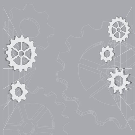 gray abstract background with gears and contours - vector cogwheels