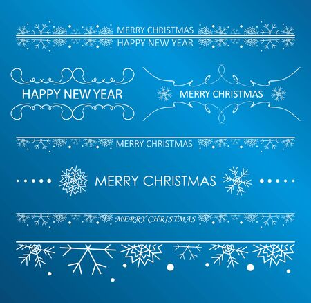 decorative white design elements with snowflakes for christmas holidays - vector set
