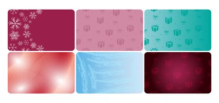 set of colored vector cards with gift boxes and abstractions for holidays