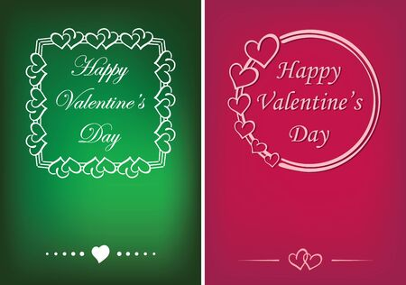 green and pink valentine cards with vector hearts and greetings 向量圖像