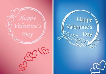 rosy and blue valentine cards with vector hearts and greetings Standard-Bild - 138814481