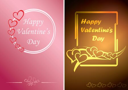 rosy and gold valentine cards with vector hearts and greetings Standard-Bild - 138831559