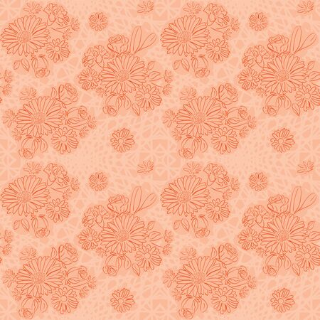 rosy background with flowers - vector seamless pattern 向量圖像