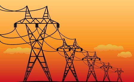 elektrische Übertragungsleitungen - schwarze Vektorsilhouetten am Abend