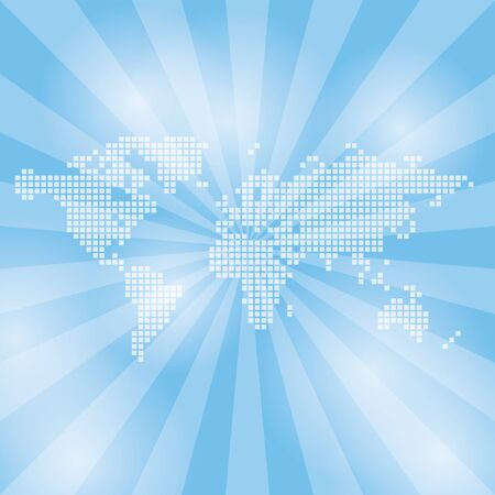 light blue background with abstract map and rays - vector