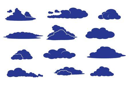 vector set of various clouds - cloud shapes in atmosphere