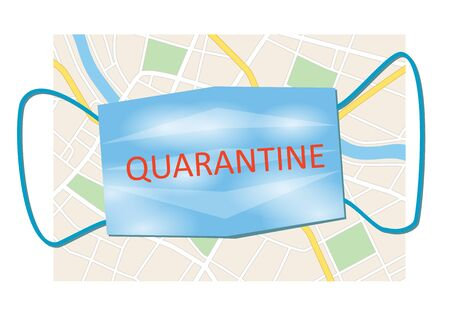 city map and blue mask with word quarantine  - vector illustration Banque d'images - 145595981