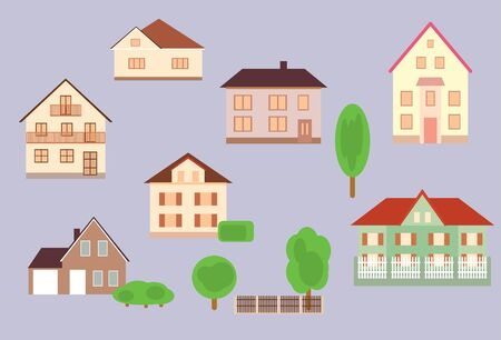 set of beautiful houses with trees and fences - vector Illustration