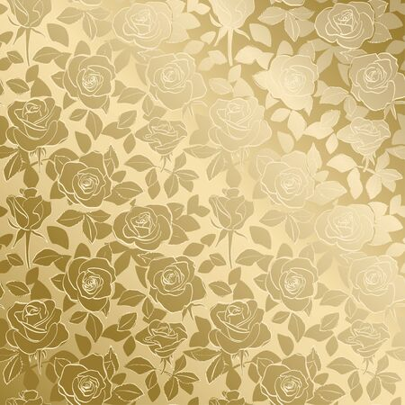 decorative golden pattern with roses and gradient - vector floral background Banque d'images - 146311434