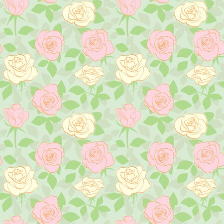 decorative seamless pattern with yellow and pink roses and green leaves - vector floral background Banque d'images - 146379393