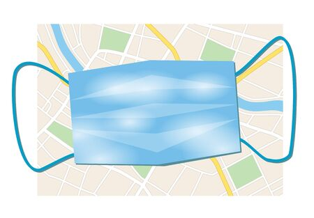 city map and blue disposable mask - vector illustration Illustration