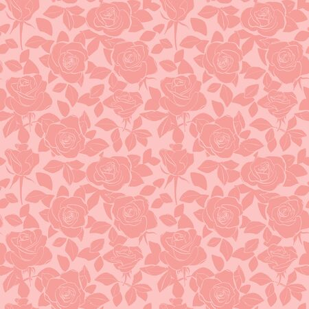 decorative rosy seamless pattern with roses and leaves - vector floral background