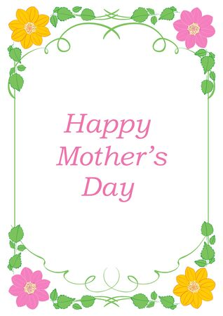 vector greeting card with flowers and decorative frame - happy mother's day