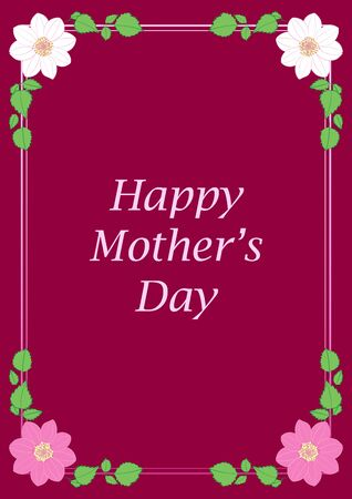 happy mother's day - crimson vector greeting card