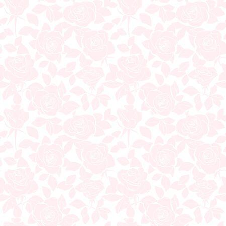 rosy seamless pattern - vector light background with silhouettes of roses