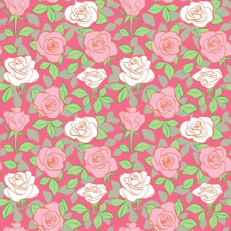 red seamless pattern - vector bright background with white and red of roses Banque d'images - 146566723
