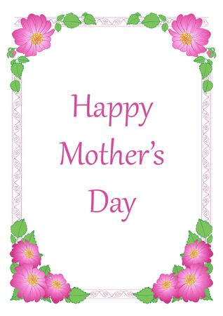 vector greeting card with flowers - happy mother's day  Illustration